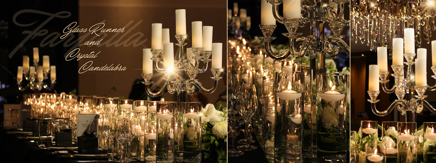 Glass Runner and Crystal Candelabra