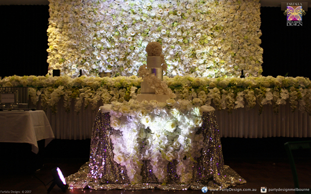 White Flower Wall Lakeside Reception