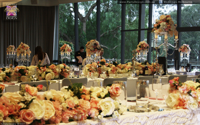 Peach Flower Wall, Floral Runners, Floral Centrepieces
